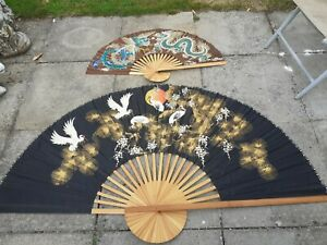 2 X Retro Hand Painted Japanese Silk Fans Wall Art 6 Ft And 3 Ft Span