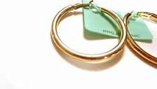 THICK HOOP EARRINGS 2 INCH GOLD OR SILVER TONE ROUND TUBE HOOPS PLATED