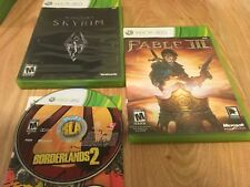 Borderlands 2 And Fable 3 And Skyrim - Xbox 360 Game Lot