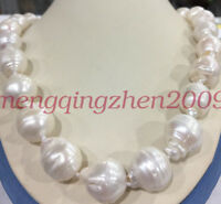 "Rare Huge 15x20MM WHITE SOUTH SEA BAROQUE KESHI PEARL NECKLACE 18"" AAA+"