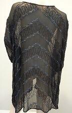 VTG Black Sheer Chevron Beaded Trophy Gypsy Tunic Dress Duster Jacket Top