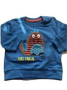 Boys Jumper Little Monster Sweater Big Hugs 6 to 9 Months