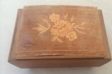 Retro Marquetry Inlaid Cigarette Box? Jewellery Box Wood treen Box