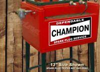"2 CHAMPION Spark Plug Vintage 13"" Decals Antique Cleaner Tester Sign Stickers"