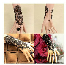 Wedding Black Pearl Women's Gothic Hand Lace Rose Bracelet Ring Jewelry Superior