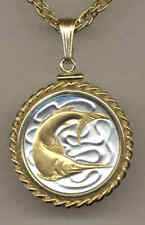 Singapore 20 Cent Swordfish Coin Gold on Silver Pendant+Necklace Christmas Gifts