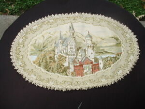 LOT #21- VINTAGE HAND MADE TAPESTRY SCENE TABLE MAT GOLD THREADING VERY LOVELY