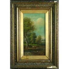 Original Framed Antique Victorian Cattle Landscape Oil Painting George Harris