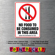 No food to be consumed sticker smoke free act compliant water/fade proof