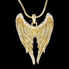 ANGEL WINGS made with Swarovski Crystal HOLLYWOOD fairy Gothic Gold Necklace New
