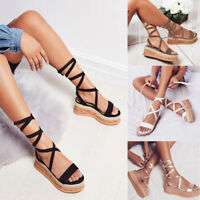 Womens Ankle Strap Wedge Espadrille Lace up Sandals Platform Summer Shoes Size