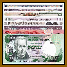 Colombia 1 2 5 10 20 50 100 200 Pesos (8 Pcs Set), 1974-1992 Unc