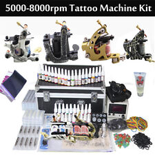 Professional Complete Tattoo Kit 4 Machine Power Supply 20 Inks Needle Grips Tip