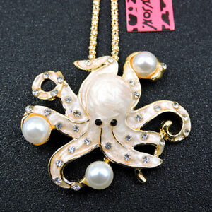 Betsey Johnson Rhinestone Yellow Enamel Pearl Octopus Pendant Sweater Necklace