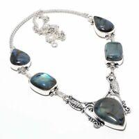 "Rainbow Moonstone Gemstone Handmade Ethnic 925 Silver Jewelry Necklace 18"" c3us"