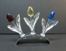 Swarovski Crystal Tulips In Mirror Stand / Display Base, Signed