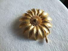 "Beautiful Brooch Pin Flower Shape Gold Tone Matte Finish Signed MAMSeLLE 2 1/4"""