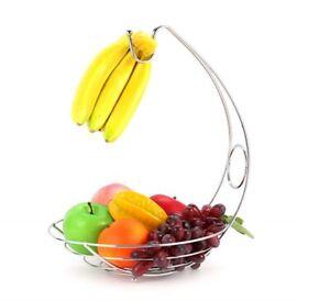 Fruit Basket Bowl 2 in 1 Banana Hook Tree Hanger Stand Dinning Table Storage New