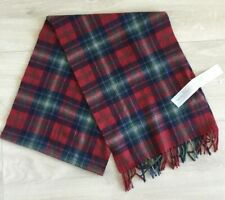 """NEW Mens ABERCROMBIE & FITCH Red Multicolor Plaid Wool Blnd Scarf Fringe 13""""x78"""""""
