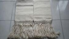 coppia di antichi asciugamani di lino grosso o canapa tessuto a telaio nuovi