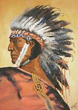 Original 1931 W.E. RYAN Native American Indian Chief Gouache Painting