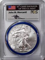 2014 W $1 Burnished Silver Eagle PCGS SP70 Mercanti Signed Mint Engraver Series