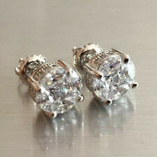 Elegant 925 Silver Stud Earrings Women White Sapphire Wedding Jewelry A Pair/set