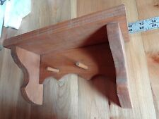 Rustic Country Pine Wooden Wall Knick Knack Shelf 2 Pegs Homemade