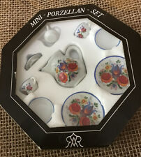 Mini Porzellan Floral Pattern Tea Set -Reutter Germany hand painted New in Box