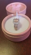925 sterling silver morganite and white topaz ring. 6-7-8-9-10-12.FULLY STAMPED.
