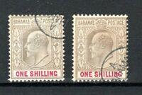 Bahamas 1902-07 1s x 2 shades FU CDS