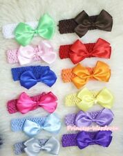 Lot 12 Girl Grosgrain Ribbon Hair Bow Clip Crochet Headband 2PC for Pettiskirt