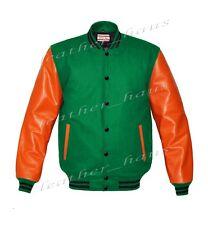 Genuine Leather Sleeve Letterman College Varsity Men Wool Jackets #ORSL-BSTR-BB