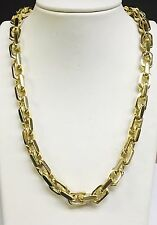 """14k Solid Gold Handmade Link Men's chain/necklace 25"""" 248 grams 10.5MM"""
