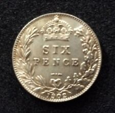 More details for 1902 six pence uncirculated silver coin - king edward vii