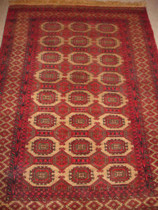 NEW! Unused! Bokhara design Afghan Herati Hand-knotted camel wool rug 180X124cm