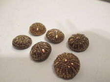 6 Sparkly Gold Vintage Buttons