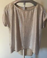 NWT BCBGeneration Silver Metallic Short Sleeve Hi Low Top L NYE G6