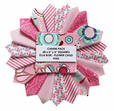 "5"" QUILTERS CHARM PACK of 20 - FLOWER CHILD - PINK"