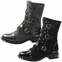WOMENS ANKLE BOOTS LADIES COMBAT BIKER MILITARY ARMY STUDDED LACE UP SIZE NEW