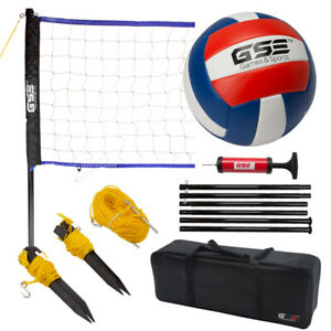 Portable Volleyball Set with Net System & Volleyball Ball for Backyard, Beach