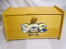 WARNER BROS Studio Store Vintage Wood Bread Box Looney Toons Taz Daffy Duck Bugs
