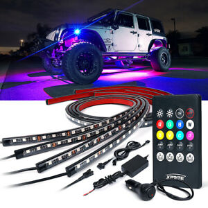 Xprite 4pcs RGB LED Ambient Lights Strip Under Car Underglow Neon Light Tube Kit