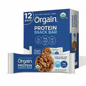 Orgain Organic Plant Based Protein Bar, Chocolate Chip Cookie Dough - Vegan,...