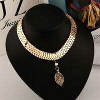 Fashion Women Gold Metal Crystal Leaf Pendant Collar Choker Chain Necklace Gift