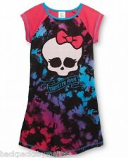 MONSTER High Nightgown Girl's 7/8 NeW Tie-Dyed SKULL Pajamas Short Sleeve Pjs