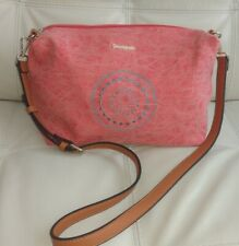 New Desigual Pink Blue Embroidered Handbag Crossbody