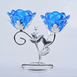 Two-Heads Blue Candle Holders Minimalism Candlestick Dining Table Home Decor