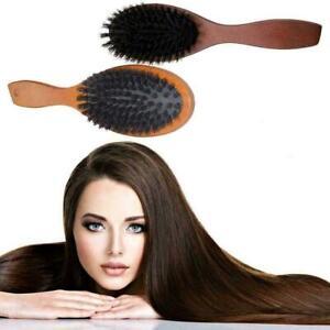 Natural Boar Bristle Hair Brush Comb Oval Anti-static Paddle U4V9 T9Y4