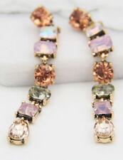 Ear Stud Hoop earrings Christmas gift Woman Multi Crystal Silver Plated Long